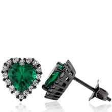 Black Silver Earrings With Emerald Gemstones in Heart Shape