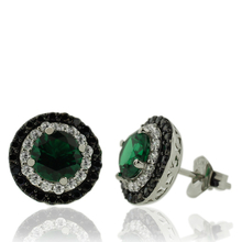 Gorgeous Sterling Silver Earrings With Emerald Gemstones in Round Cut