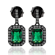 Precious Black Silver Earrings With Emerald Gemstones In Emerald Cut