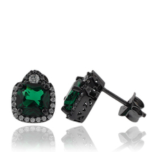 Precious Black Silver Earrings With Emerald Gemstones