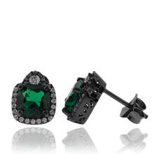 Precious Black Silver Earrings With Emerald Gemstones