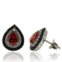Silver Earrings With Zirconia and Fire Opal Gemstones In Pear Cut
