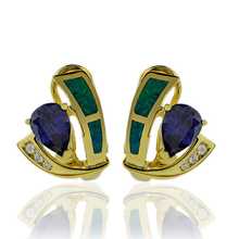 Beautiful Gold Plated Earrings With Drop Cut Tanzanite and Australian Opal.