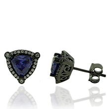 Black Silver & Tanzanite Earrings in Trillion Cut.