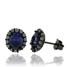 Black Silver & Tanzanite Earrings in Oval Cut with Zirconia