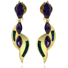 Gold Plated Earrings With Three Stone Marquise Cut Tanzanite and Australian Opal
