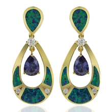 Amazing Gold Plated Earrings With Drop Cut Tanzanite and Australian Opal.