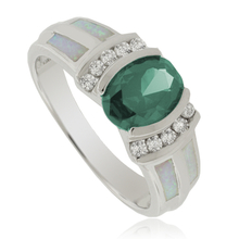 Oval-Cut Alexandrite with Australian Opal Sterling Silver Ring