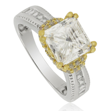 Huge Solitaire Silver Ring with Zirconium Gemstone and 14K Yellow gold-plated finish.