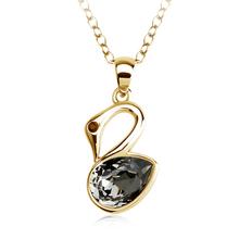 Collar Cisne Negra Swarovski Cristal Con Baño de Oro Amarillo