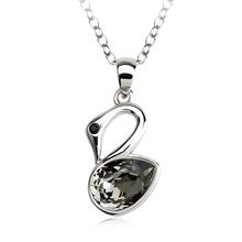 Collar Cisne Negra Swarovski Cristal Con Rodio