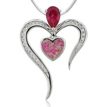 Beautiful Heart Shape Ruby and Pink Opal Silver Pendant.