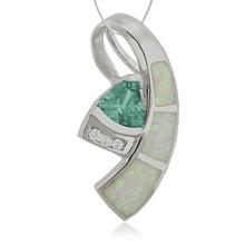 Collar de Plata fina con Piedra Alejandrita y Ópalo Blanco