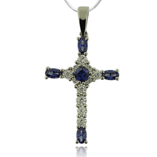 Beautiful Silver Cross With Tanzanite And Zirconia