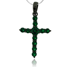 Black Silver Cross With Emerald Gemstones