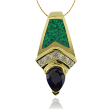 Gold Plated Pendant With Tanzanite in Drop Cut and Australian Opal.