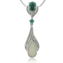 Beautiful Drop Cut Alexandrite withe opal Silver Pendant