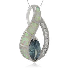 Marquise Cut Alexandrite Pendant with White Opal.