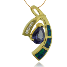 Great Gold Plated Pendant With Tanzanite in Drop Cut and Australian Opal.