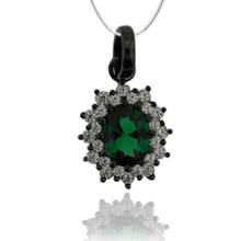 Amazing Black Silver Pendant With Emerald Gemstone In Oval Cut and Zirconia.