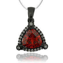 Beautiful Black Silver Pendant With Fire Opal In Trillion Cut.