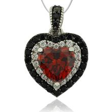 Precioso Dije de Plata .925 con Piedra de Ópalo de Fuego en Forma de Corazón y Zirconias