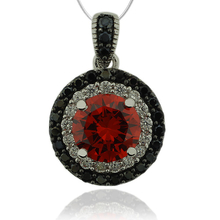Sterling Silver Pendant With Fire Opal Gemstone in Round Cut and Zirconia.