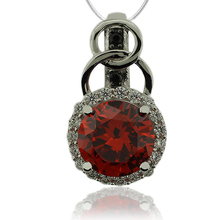 Precious Sterling Silver Pendant With Fire Opal Gemstone in Round Cut and Zirconia.