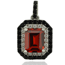 Sterling Silver Pendant With Fire Opal Gemstone in Emerald Cut and Zirconia.