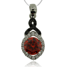 Beautiful Sterling Silver Pendant With Fire Opal Gemstone in Round Cut and Zirconia.