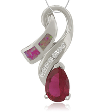 Amazing Pendant with Ruby and Pink Opal with Sterling Silver