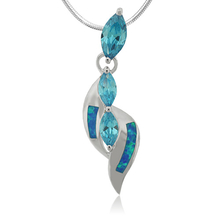 Marquise Cut Blue Topaz Sterling Silver Pendant