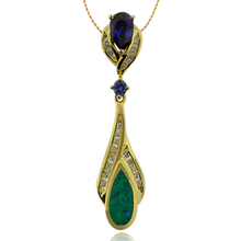 Precious Gold Plated Pendant With Tanzanite Gemstone in Drop Cut and Australian Opal
