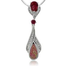 Beautiful Silver Pendant with Pear Cut Ruby Gemstone