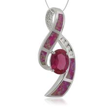 Oval Cut Ruby with Australian Opal Silver Pendant.