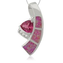 Silver Pendant with Trillion Cut Ruby Gemstone