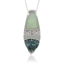 Amazing Silver Pendant with Alexandrite and White Opal.