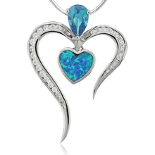 Pear Cut Blue Topaz Pendant with Blue Opal and Silver