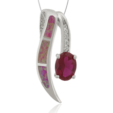 Fashion Oval Cut Australian Opal with Ruby Pendant