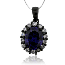 Black Silver Pendant With Tanzanite in Oval Cut and Zirconia