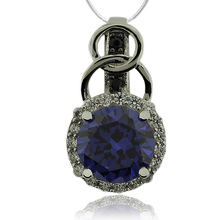 Silver Pendant With Tanzanite in Round Cut