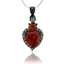 Black Silver Pendant With Fire Opal in Heart Shape