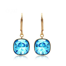 Blue and Gold Earrings Swarovski Rhodium