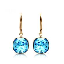 Blue and Gold Earrings Swarovski Rhodium