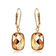 Elegantes Aretes de Cristal Swarovski Color Dorado