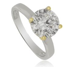 Great Solitaire Silver Ring with Gold Plated Finish