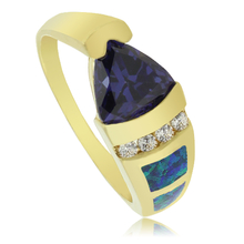 Opal and Gold Plated Ring With Beautiful Trillion Cut Tanzanite Gemstone.