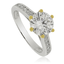 Beautiful Solitaire Ring with Zirconia Gemstone and Gold Plated Details
