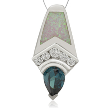 Beautiful Drop Cut Alexandrite and withe Opal Pendant