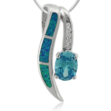 Fashion Oval Cut Australian Opal with Blue Topaz Pendant